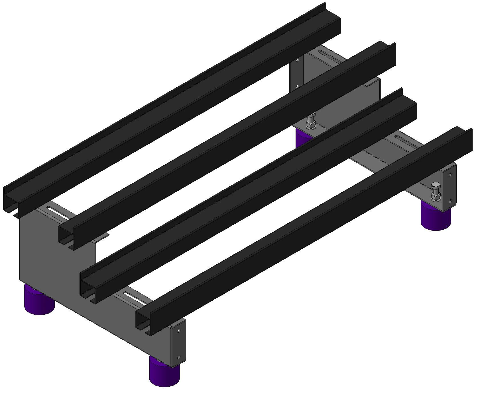 Одноярусные двухрядные двухуровневые аккумуляторные стеллажи