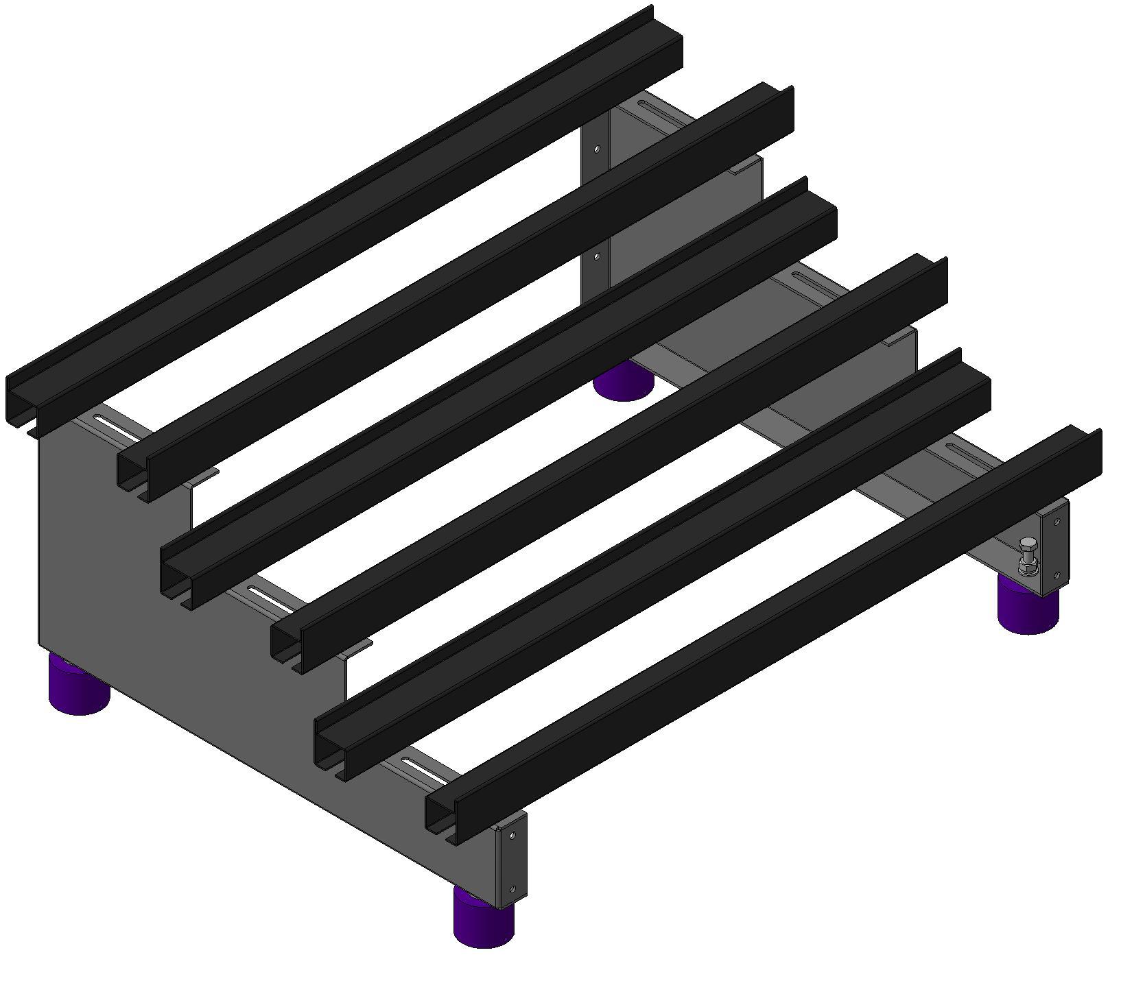 Одноярусные трехрядные трехуровневые аккумуляторные стеллажи